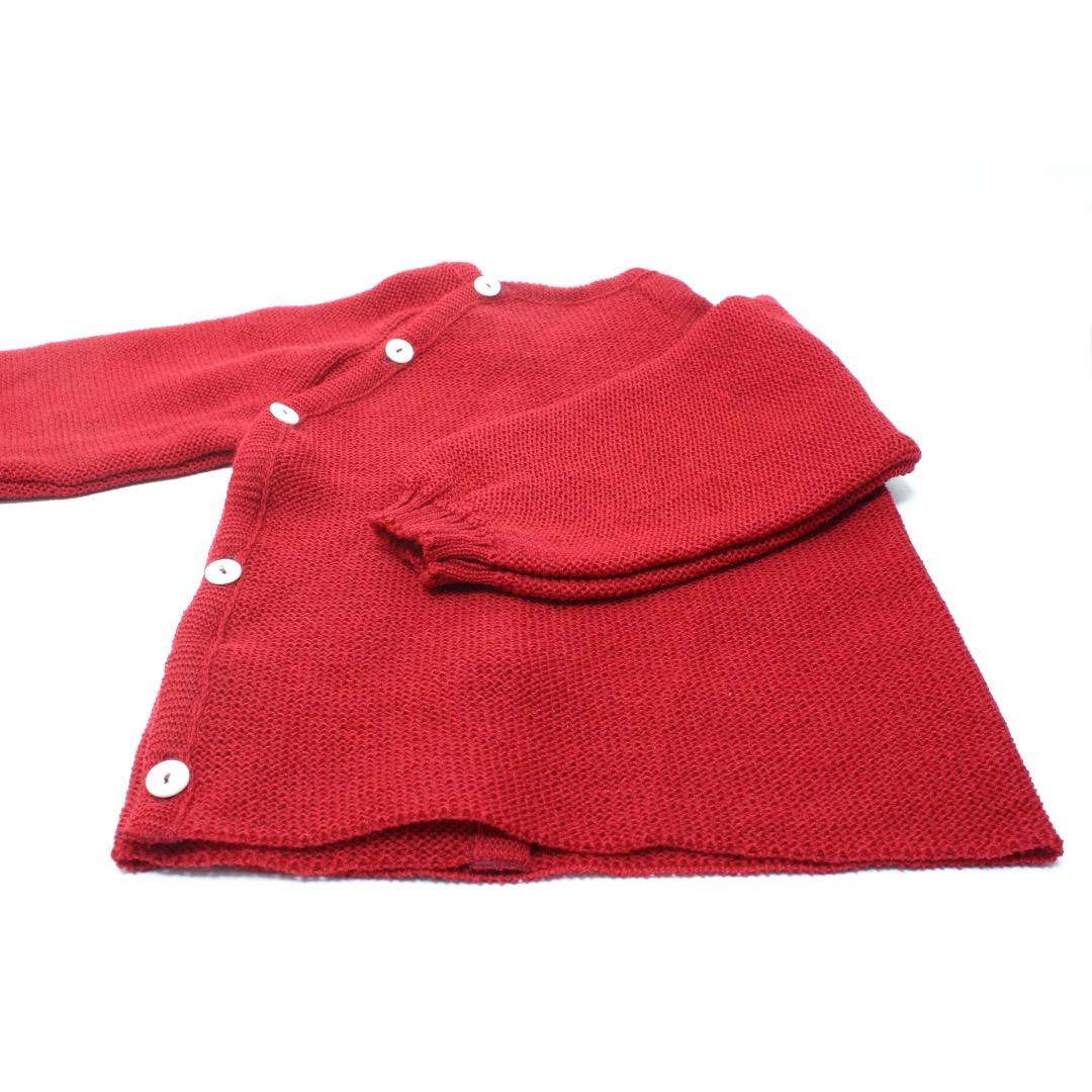 REIFF STRICK / Baby Pullover Schluettli burgund Merino-Schurwolle kbT