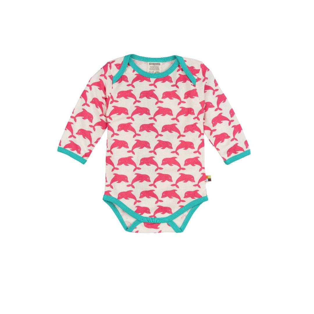 LOUD PROUD Baby Langarm-Body Delfine coralle BIO Baumwolle kbA