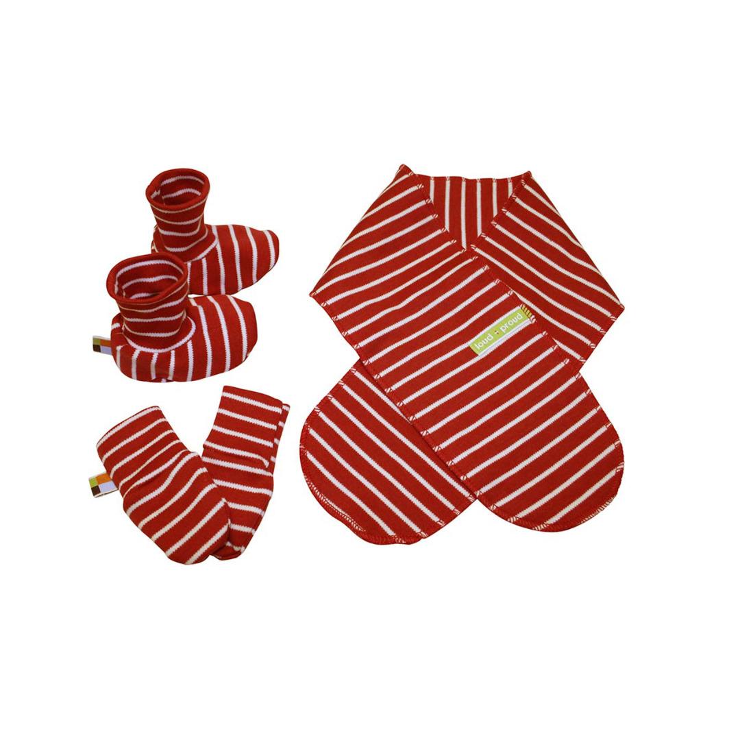 LOUD PROUD Newborn-Set Ringel tomato Schuhe Schal Handschuh