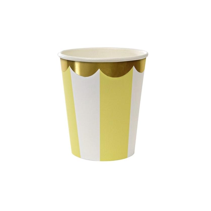 MERI MERI Pappbecher Streifen gelb 8er-Set - 1