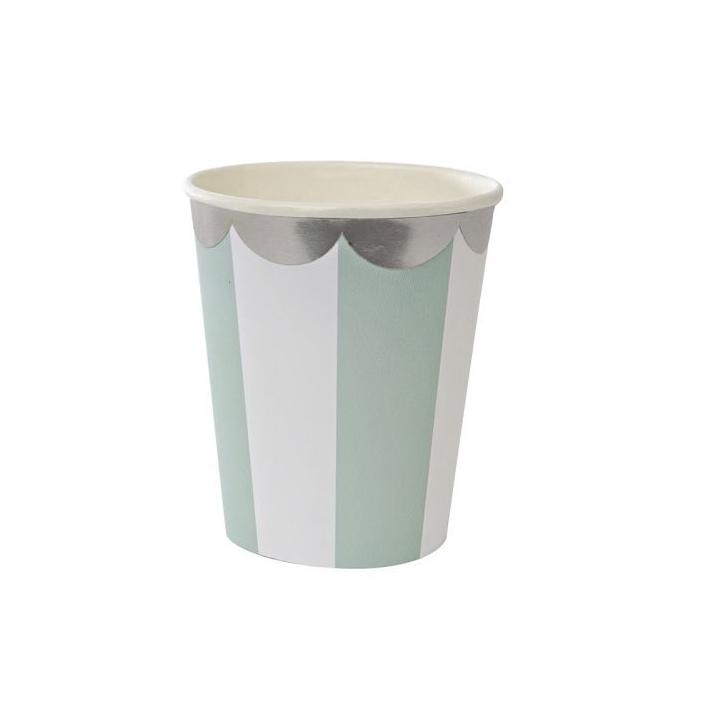 MERI MERI Pappbecher Streifen mint - 1
