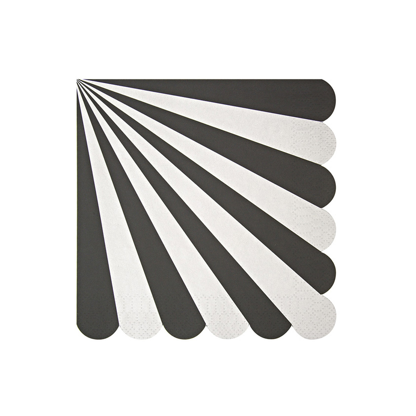 MERI MERI Servietten gross mit Streifen schwarz - 1