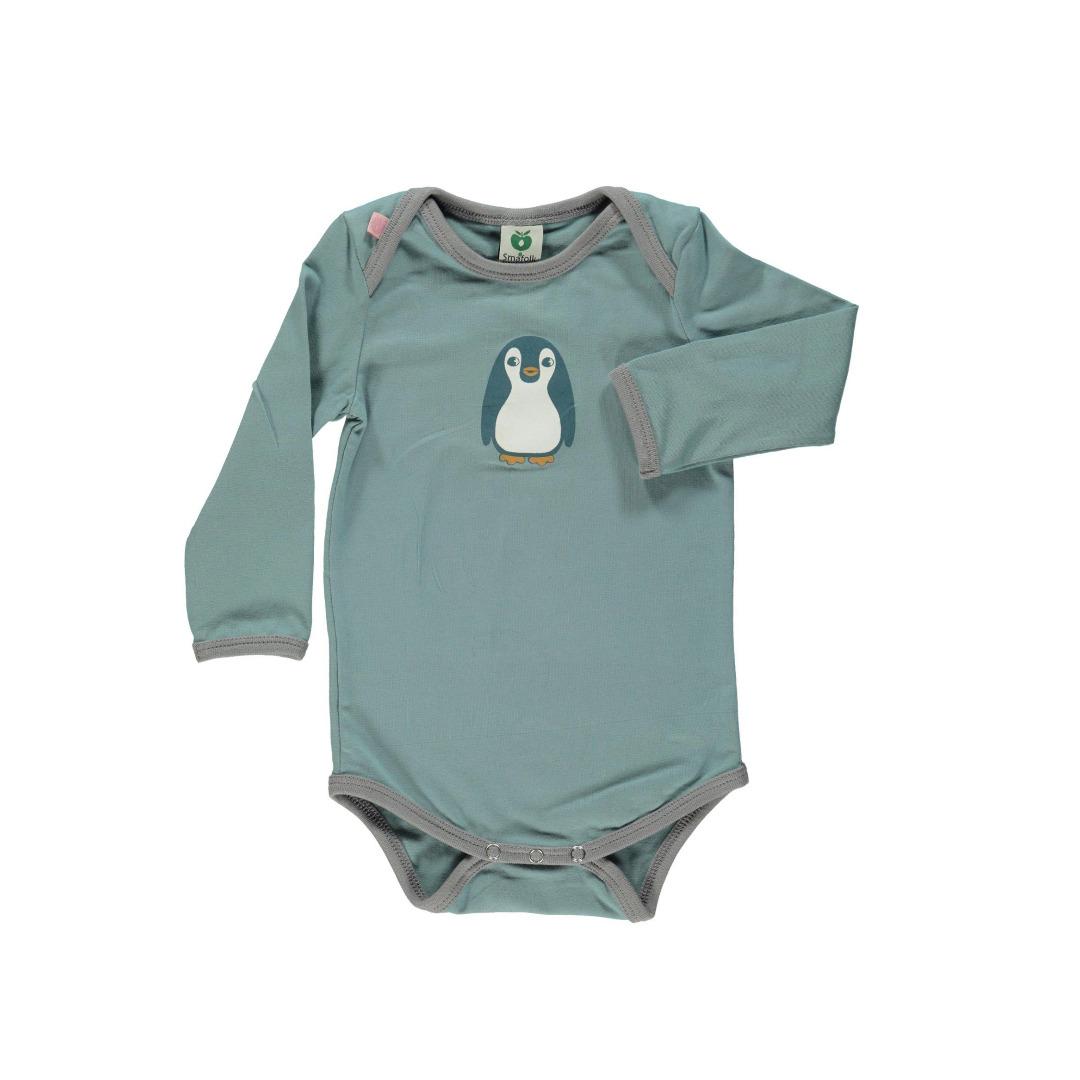Smafolk Baby Body Langarm Baby Pinguin Stone Blue