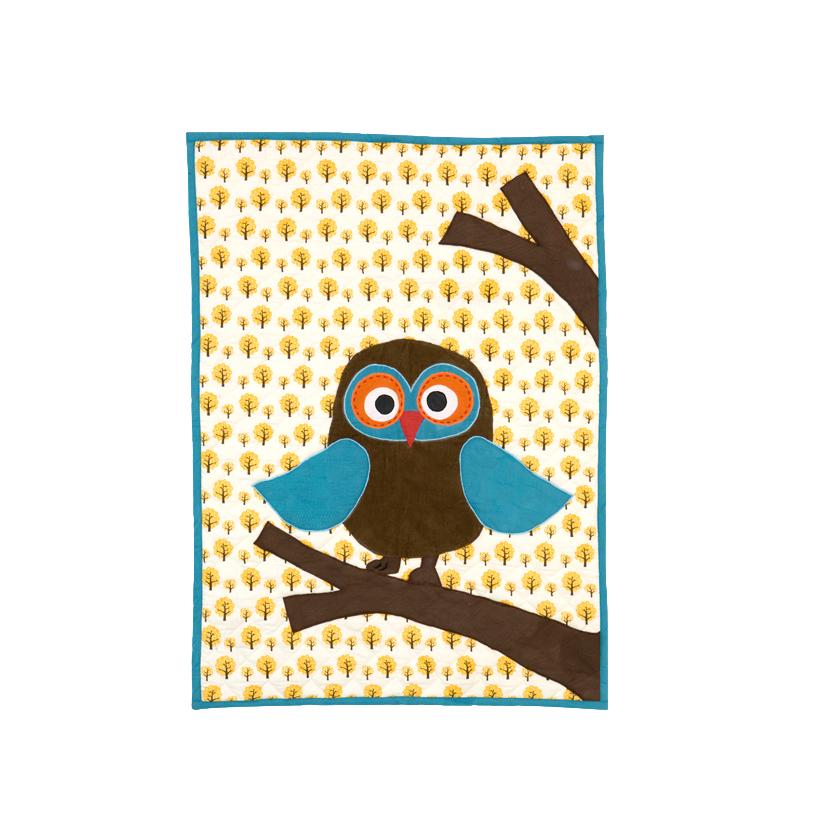 Owl Quilted Blanket BIO Baumwolle kbA