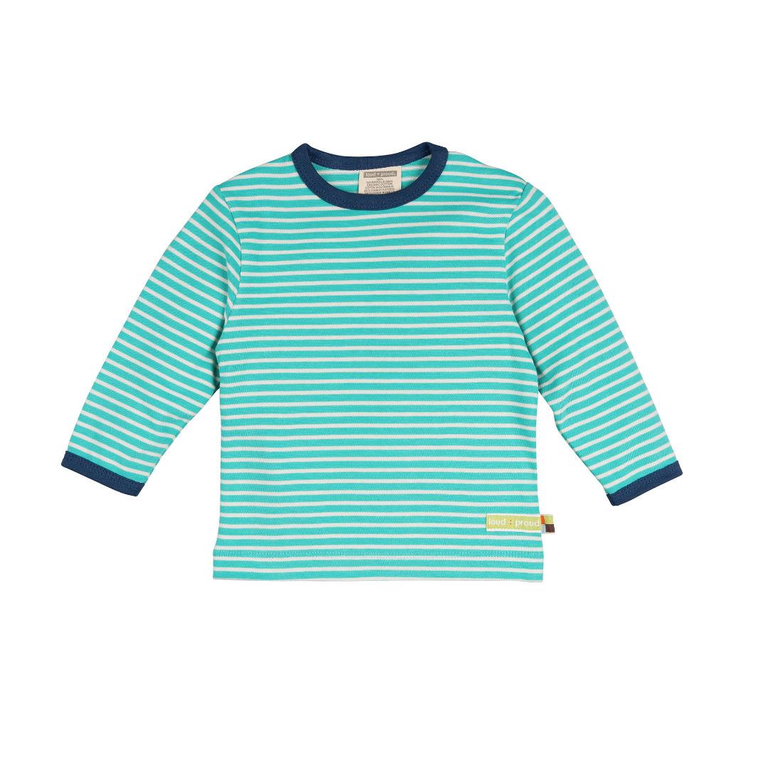 LOUD PROUD Shirt geschmirgelt Ringel smaragd