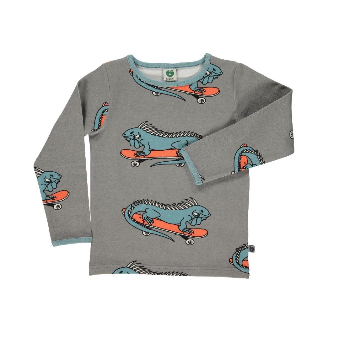 SMAFOLK Shirt l/s grau mit Leguan