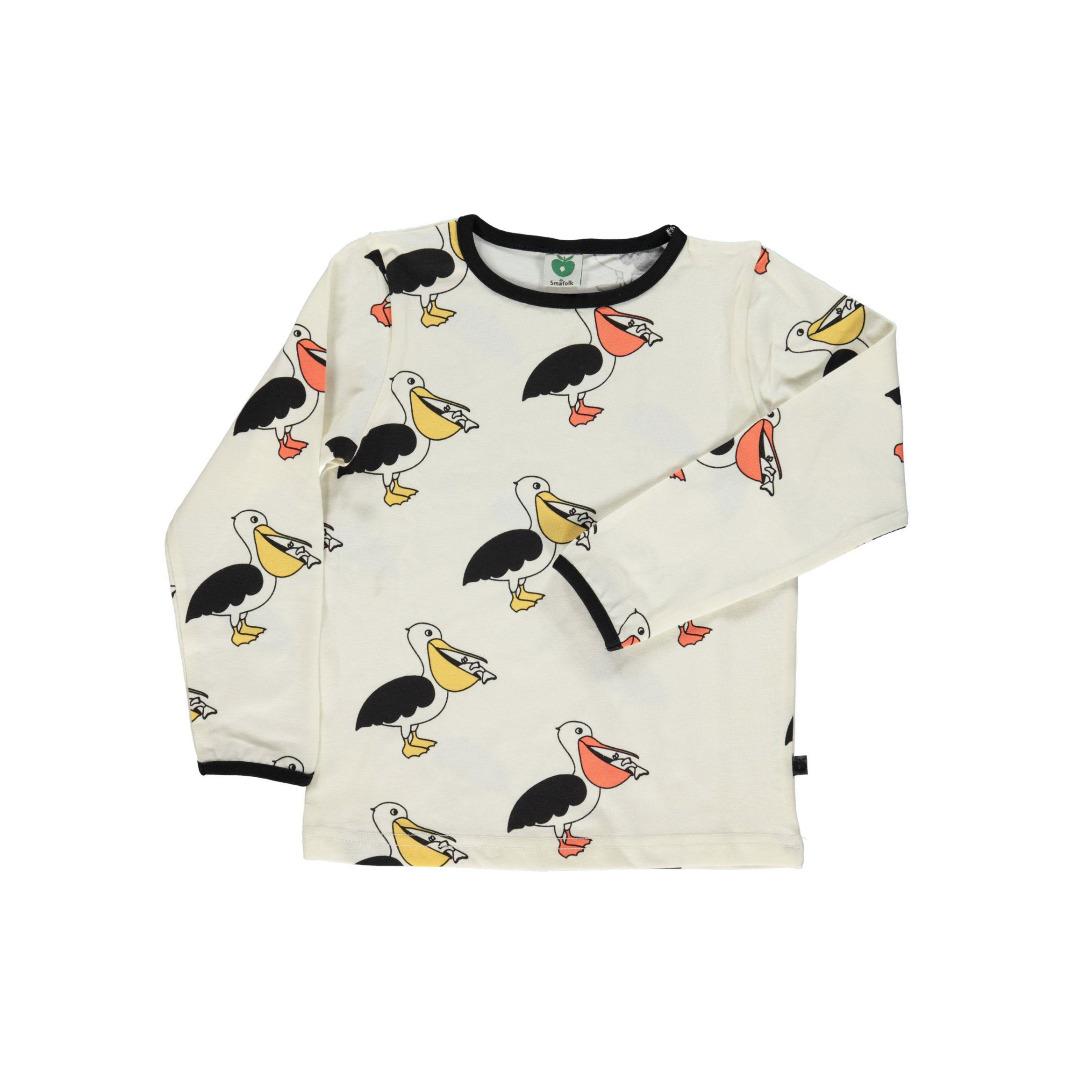 SMAFOLK Kinder Langarm Shirt Pelikan Cream