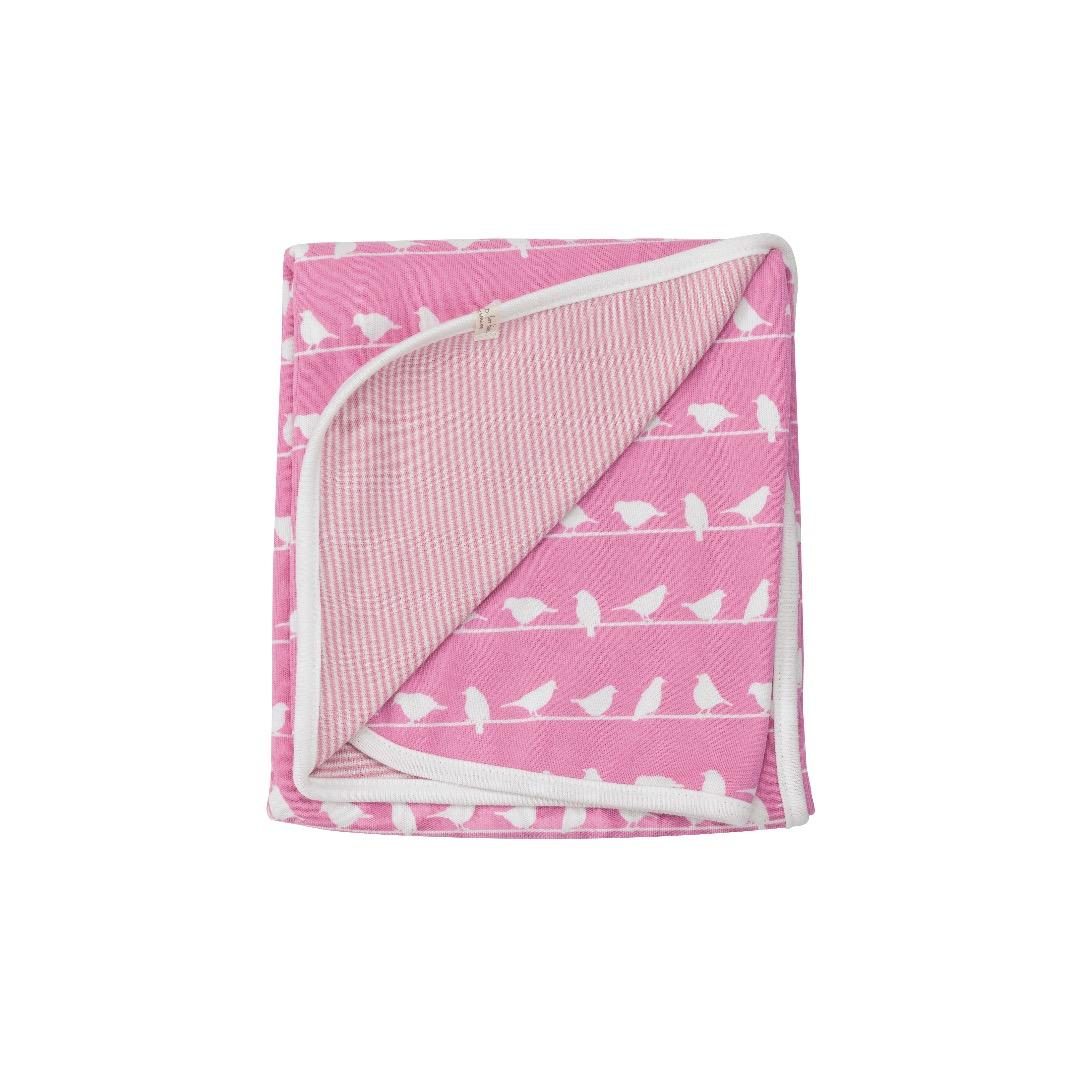 PIGEON Babydecke Wendedecke 72 x 70 cm Baby-Decke Voegel rosa 100 Biobaumwolle
