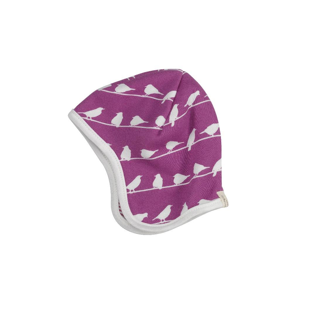 PIGEON Babymütze Wendemütze Vögel lila Bio - 1