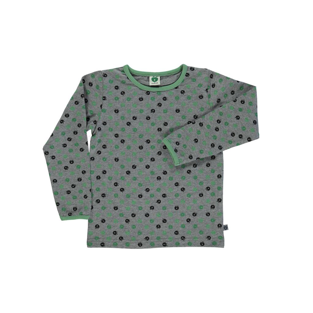 SMAFOLK Kinder Shirt mit mini Apfel gruen Longsleeve
