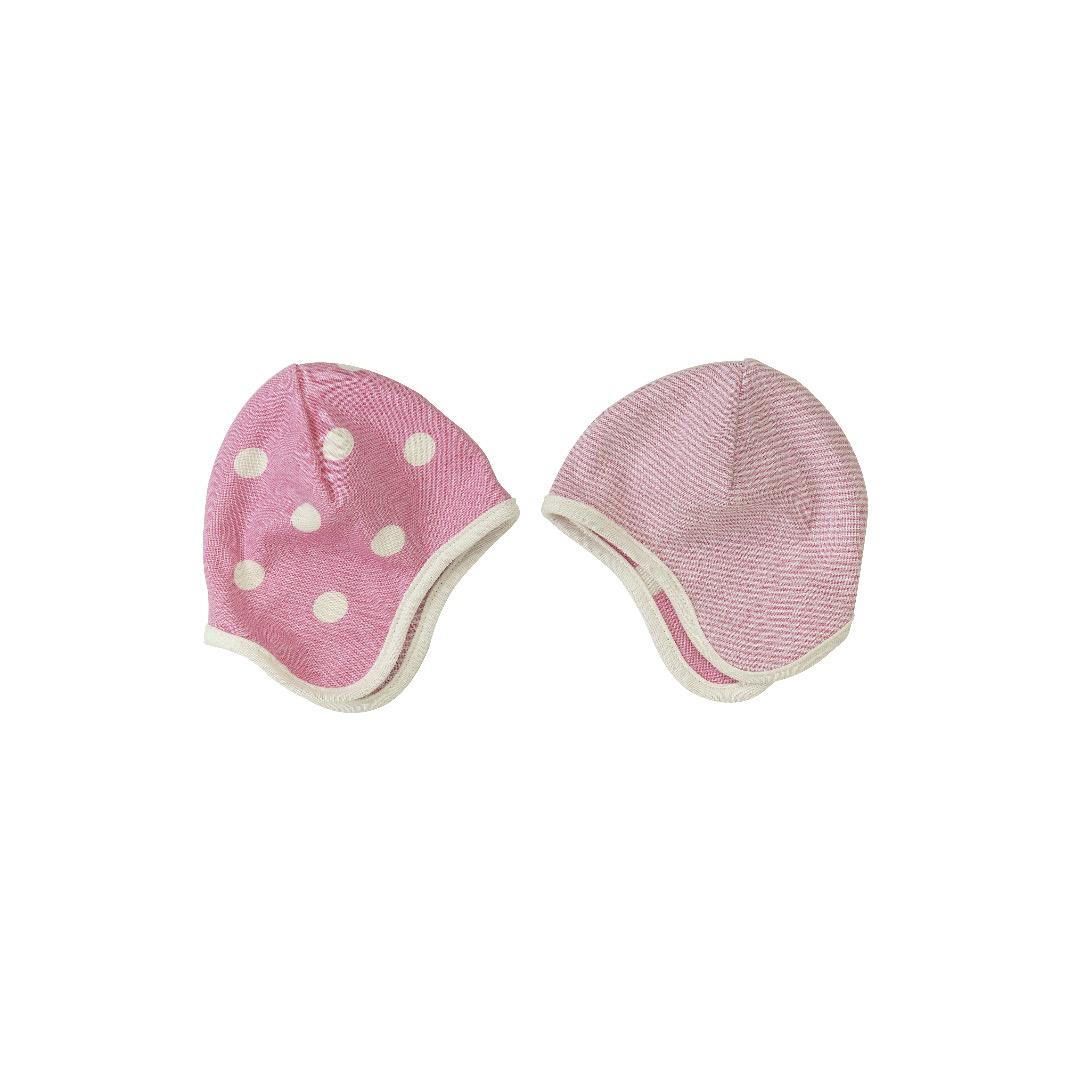 PIGEON Babymuetze Wendemuetze Tupfen rosa Bio Baumwolle