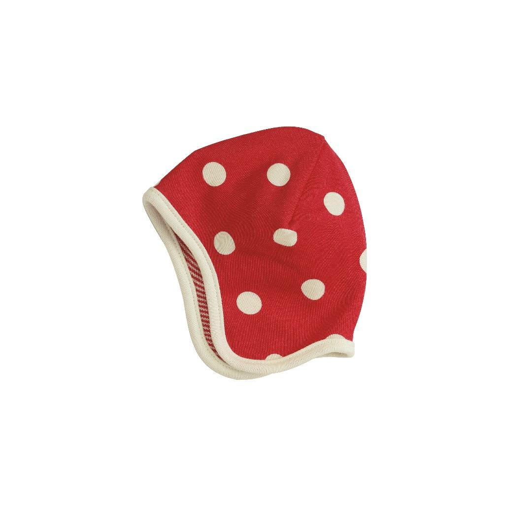 PIGEON Babymütze Wendemütze Tupfen rot Bio Baumwolle - 1