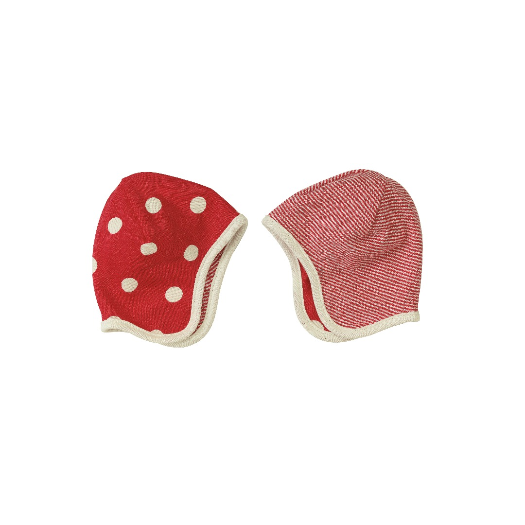 PIGEON Babymütze Wendemütze Tupfen rot Bio Baumwolle - 2