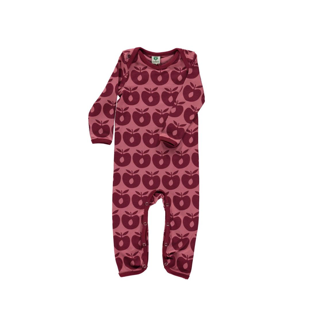 Smafolk Baby Strampler Spieler Jumpsuit Aepfel Mesa Rose