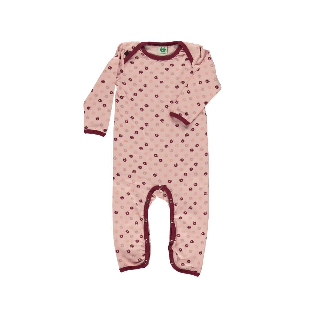 Smafolk Baby Strampler Spieler Jumpsuit mini Äpfel Silver Pink - 1