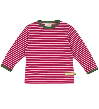 LOUD PROUD Baby Langarm-Shirt geschmirgelt, Ringel beere/natur