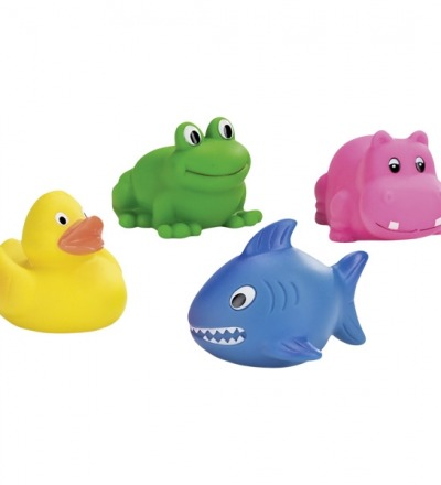 Wasserspritztiere Ente Frosch Nilpferd und Hai