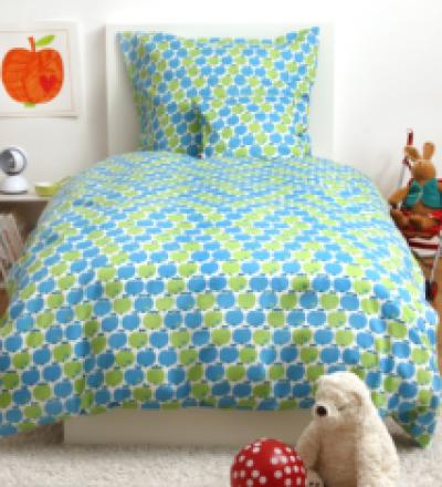 BY GRAZIELA Kinderbettaesche Bettwaesche Apfel blau gruen Kindergroesse