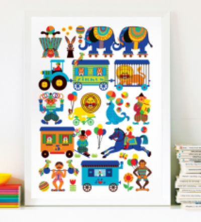 BY GRAZIELA Zirkus Kinder Poster 50 x 70 cm