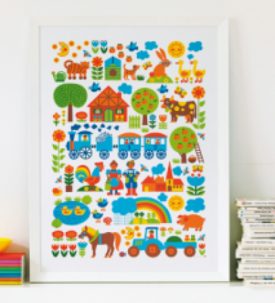 BY GRAZIELA Kinder Bauernhof Poster 50 x 70 cm