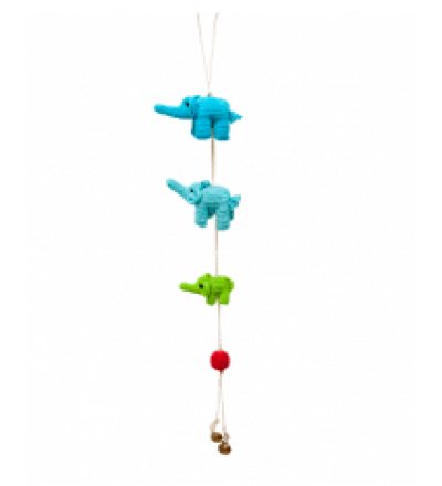 ONE-CLICK WONDERS Mobilé Häkelelefanten blau grün 50 cm
