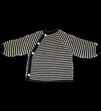 REIFF STRICK / Baby Pullover Schluettli marine/natur 50-68 Merino-Schurwolle kbT - Made in Germany
