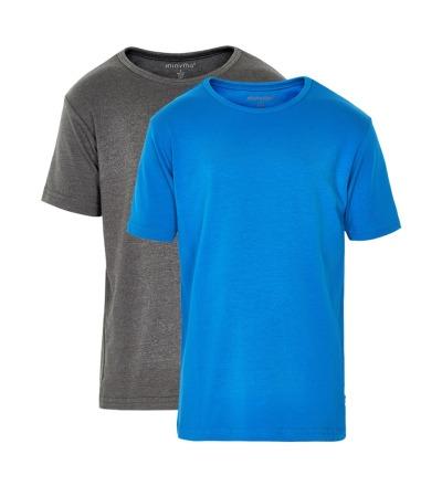MINYMO T-Shirt Basic 2er Pack blau und grau