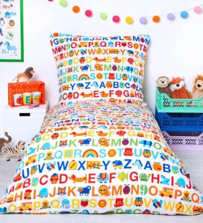 BY GRAZIELA Kinderbettwäsche ABC Regenbogen