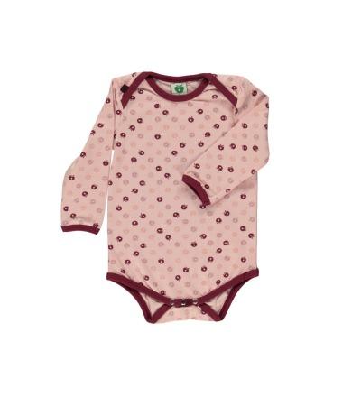 Smafolk Baby Langarm Body mini Aepfel Silver Pink