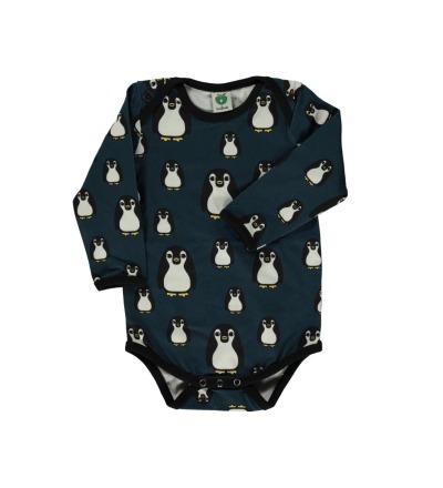 Smafolk Baby Body Langarm Pinguine Majolica Blue