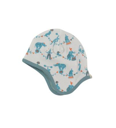 PIGEON Babymuetze Wendemuetze Zirkus blau Bio Baumwolle