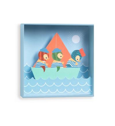 DJECO Bild Wandbild Piguine Penguin sailors - 18,5x18,5x4cm von DJECO