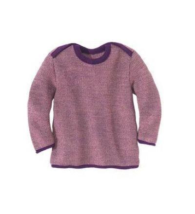 DISANA Baby Strick-Basic-Pullover Baby plum/rose melange 100 Merino - Schurwolle
