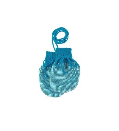 DISANA Strick-Handschuhe blau-natur Merino - Schurwolle kbT - Made in Germany