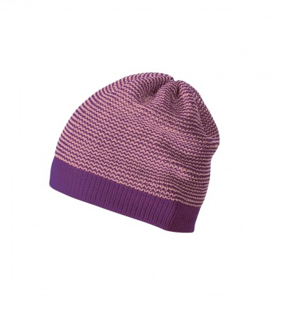 DISANA Strick-Beanie pflaume / rose melange Merino Schurwolle kbT - Made in Germany