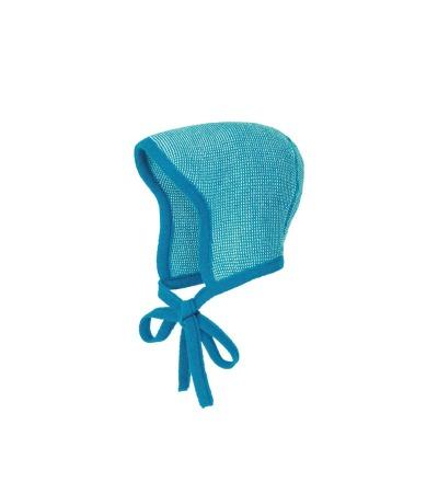 DISANA Baby Strick-Häubchen blau-natur melange Merino Schurwolle kbT - Made in Germany