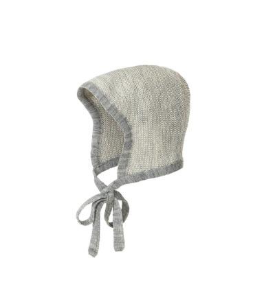 DISANA Baby Strick-Häubchen grau-natur melange Merino