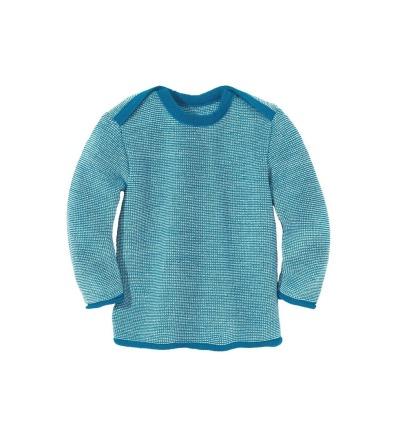 DISANA Strick-Basic-Pullover Baby blau/natur melange 100 Merino - Schurwolle
