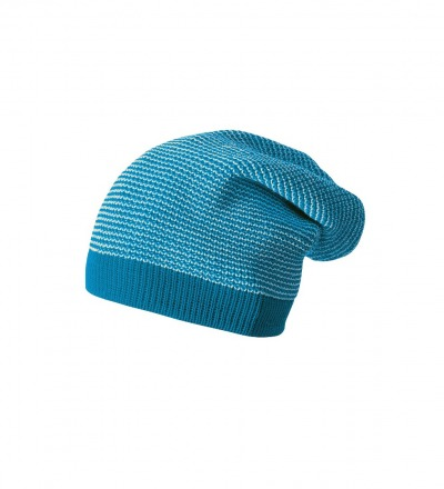 DISANA Strick-Long-Beanie Blau / natur melange Merino Schurwolle kbT - Made in Germany