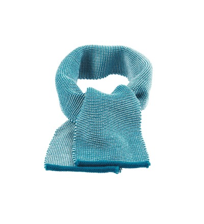 DISANA Strick-Melange Schal blau-natur Merino Schurwolle kbT - Made in Germany