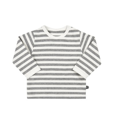 MINYMO l/s Shirt Mace mit Streifen in weiss/grau BIO