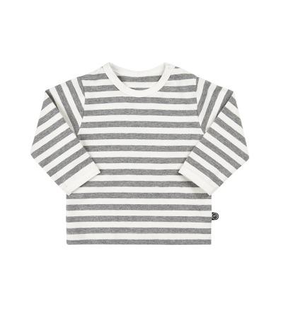 MINYMO l/s Baby Shirt Mace mit Streifen in weiss/grau 100 Bio-Baumwolle