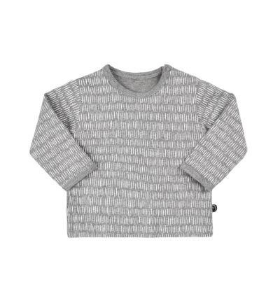 MINYMO l/s Baby Shirt Mace grau mit kleinen weissen Streifen BIO