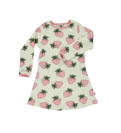 SMAFOLK Kinder Kleid Dress mit Strawberry Erdbeeren Print