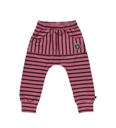 SMAFOLK Kinder Hose Streifen und aufgesticktem Logo