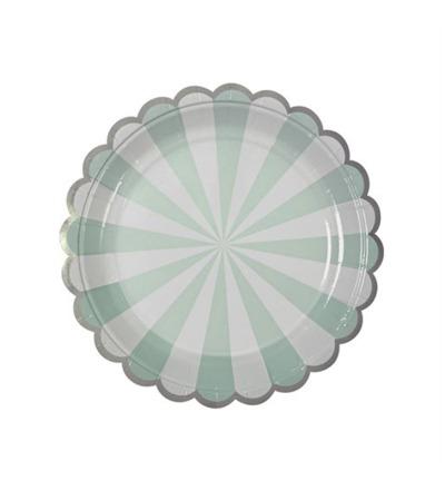 MERI MERI Teller klein mit Streifen hellblau 8er Set