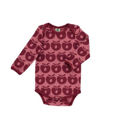 Smafolk Baby Body Langarm Äpfel Mesa Rose