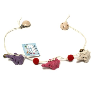 ONE-CLICK WONDERS Wagenkette Haekelelefanten lila pink