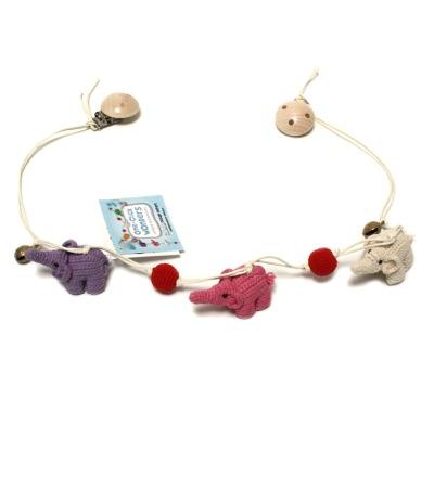 ONE-CLICK WONDERS Wagenkette Häkelelefanten lila pink