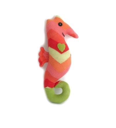 HickUps Babyrassel Sockenseepferd Zickzack orange/rot Seepferd